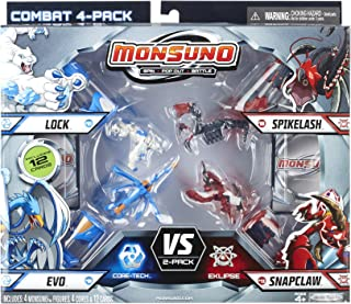 Monsuno Serie 1 - 4 Core Combat Pack with Lock #01, Evo #09, Spikelash #08, Snapclaw #13, 4 Cores and 12 Cards by Monsuno