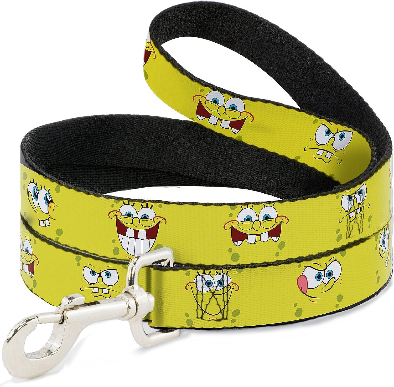 BuckleDown DL6FTWSQ001 Dog Leash, SpongeBob Expressions Yellow, 6'