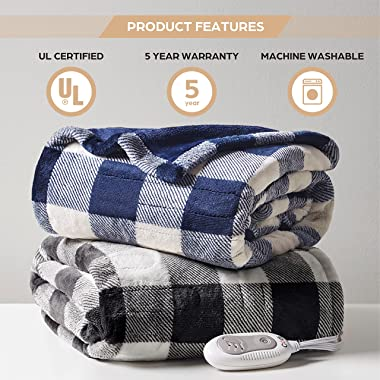 Codi Soft Heated Throw Blanket Plaid Black   50x60   Lightweight Electric Throws for Couch   3 Heat Setting with Auto Shut Of