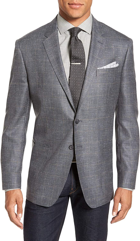 Todd Snyder New York Men's Mayfair Fit Check Wool, Silk & Linen Sport Coat,Dark Grey Size: 40Long