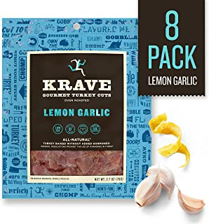 KRAVE Jerky Gourmet Turkey Cuts, Lemon Garlic, 2.7 Ounce (Pack Of 8)