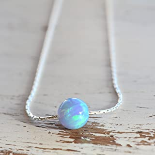 Blue Opal Ball Necklace sterling Silver Delicate Jewelry 16 inches Length + extender