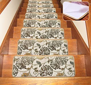 Seloom Non Slip Stair Treads Carpet 1 Piece Blended Jacquard Indoor Skid Resistant Stair Tread Rugs Rubber Backing,26