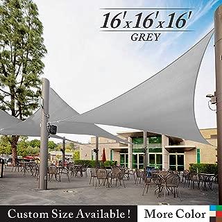 Royal Shade 16' x 16' x 16' Gray Triangle Sun Shade Sail Canopy Awning Outdoor Patio Fabric Shelter Cloth Screen Awning - 95% UV Protection, 200 GSM, Heavy Duty, 5 Years Warranty, We Make Custom Size