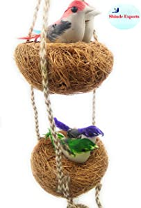 Shinde Exports Decorative Artificial Birds Nest Hanging Made of Natural Grass Best for Balcony Home Decor and Gifting (Design 1)