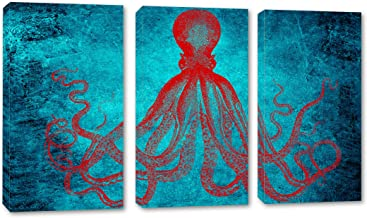 90 x 60 Total - Lord Bodner Octopus Triptych Canvas Print Wall Art 3 Panel Split, Blue & Red Kraken Room Wall Decor