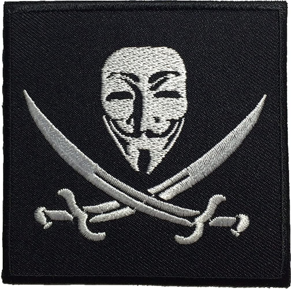 Pirate Flag Anonymous Mask Sew on Iron on Embroidered Applique Badge Patch By Ranger Return (GUYF-PIRATE)