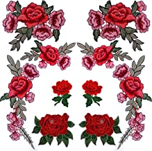 BronaGrand 10 Pieces 5 Pairs Embroidered Patches Rose Flower Sew on Patch Applique for DIY Clothing, Jeans,Sewing