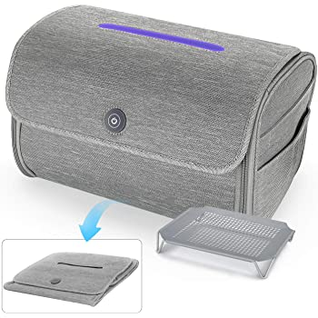 UV Light Sanitizer Bag, Foldable LED Ultraviolet Sterilization Box, Built-in 8 Real High Power UV Disinfection Chips Sterilizer Storage Bag for Mobile Phones, Toothbrush, Beauty Tools, Jewelry etc.