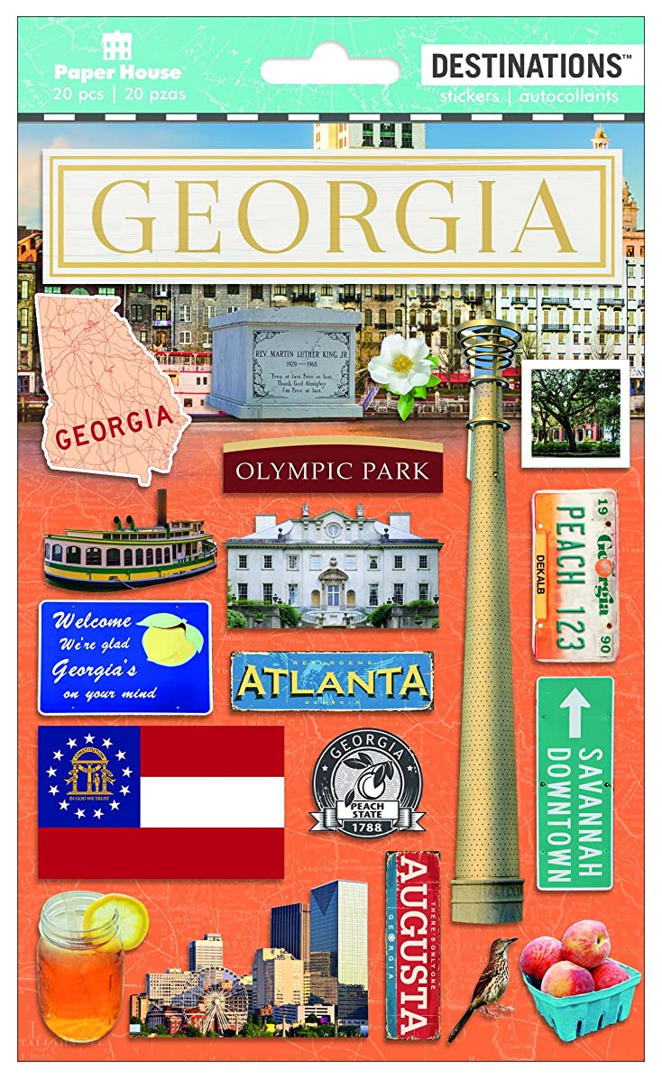 Paper House Productions Travel Georgia 2D Stickers, 3-Pack