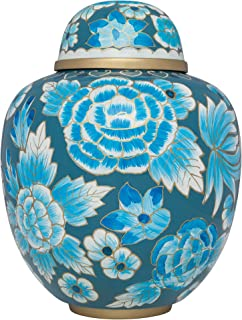 Blue Funeral Urn by Liliane Memorials - Cremation Urn for Human Ashes - Hand Made in Brass - Suitable for Cemetery Burial or Niche - Large Size fits remains of Adults up to 200 lbs - Murano Model