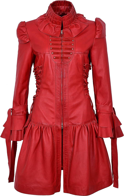 GOTIKA Red Napa Ladies Punk Rock Music Laced Ribbon Leather Jacket Coat 6273