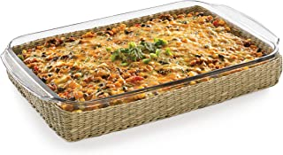 Libbey Baker's Basics Glass Casserole Baking Dish with Basket, 9-inch by 13-inch