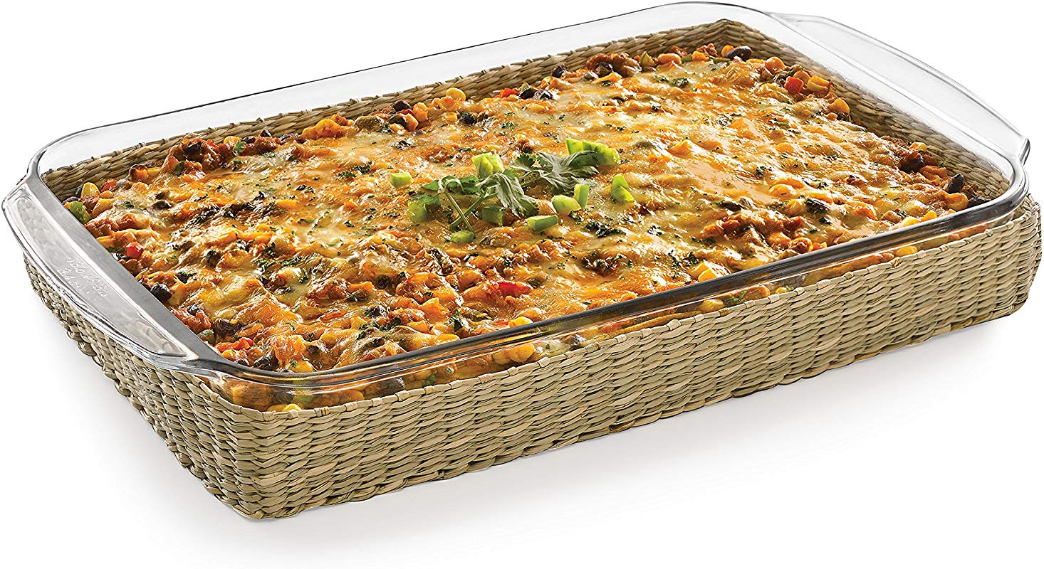 Libbey Bakers Basics Glass Casserole Baking Dish With Basket 9 Inch By 13 Inch