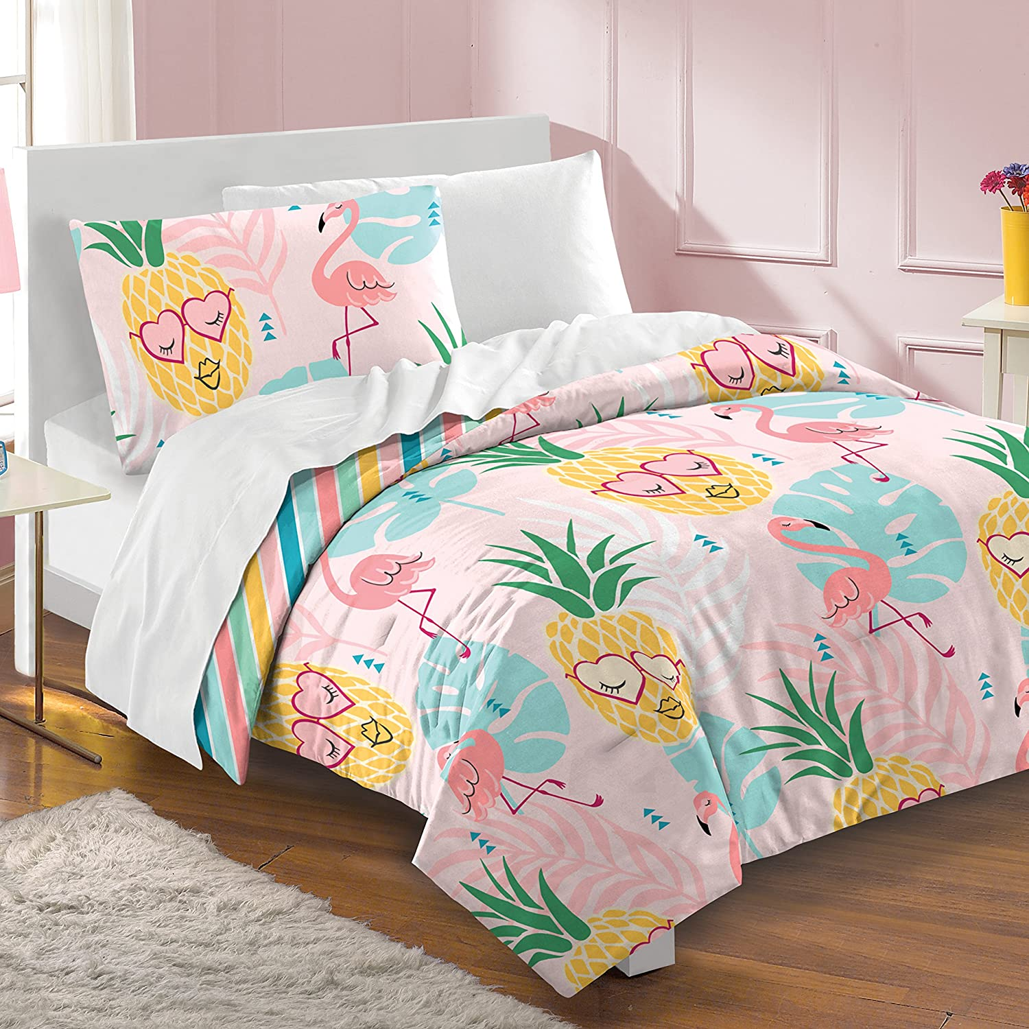 Dream Factory Pineapple Twin Comforter Set, Pink