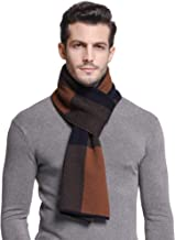 RIONA Men's 100% Australian Soft Merino Wool Knitted Plaid Warm Scarf with Gift Box