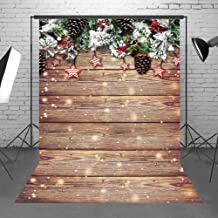 Demohome 5x7ft Snowflake Gold Glitter Christmas Wood Wall Backdrop Xmas Rustic Barn Vintage Wooden Floor Background Photography for Kids Portrait Photo Studio Booth Shoot Props