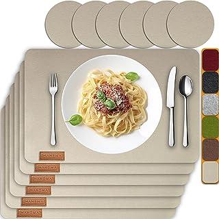 MAHEWA® Lot de 6 sets de table de qualité supérieure - En feutre antidérapant - Lavables en machine - Lavables en machine
