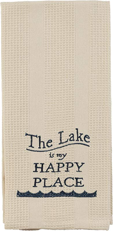 Cream The Lake Is My Happy Place 19 X 28 Inch Embroidered Cotton Waffle Dish Towel