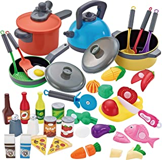 JOYIN 36 Pieces Cooking Pretend Play Toy Kitchen Cookware Playset Including Pots and Pans, Play Food, Cutting Vegetables, Toy Utensils