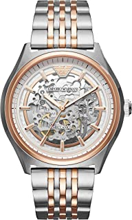 Emporio Armani Men's Dress Watch Japanese-Automatic Stainless-Steel Strap, Silver, 22 (Model: AR60002