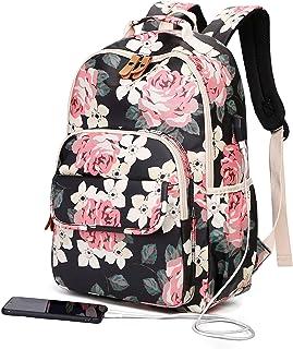 حقائب ظهر للبنات المراهقات، حقائب ظهر مدرسية فلورا، حقيبة ظهر للكمبيوتر المحمول مع منفذ USB - Large