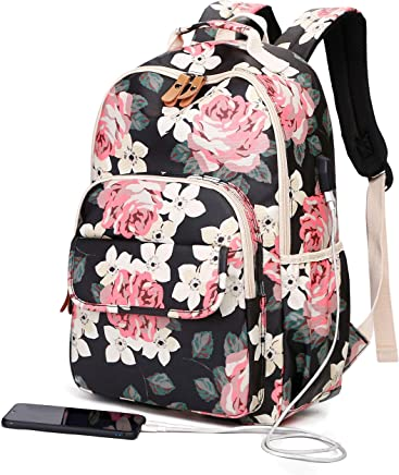 Back Pack for Girls Teens College, Cute High School Book Bags, Notebook Laptop Backpack with USB Port (Black)