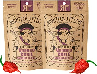 Righteous Felon Beef Jerky - Voodoo Chile Carolina Reaper Jerky - Gluten-Free Snacks - All-Natural, Locally Sourced & Dried Beef Jerky - Low-Sugar Healthy Snacks - 2 Ounces Each, Pack of 2