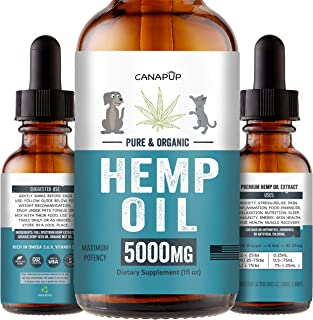 Hemp Oil for Dogs & Cats - Separation Anxiety, Pain Relief, Joint Supplement, Arthritis, Seizures, Sleep Aid - Organic Calming Drops with Full Spectrum Hemp Extract - Rich in Omegas 3:6:9 - USA Made