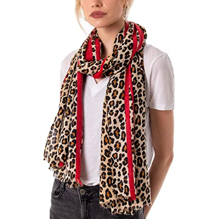 Style Slice Leopard Print Scarf for Women Ladies Animal Print Scarves-Long Neck Scarf Mustard Red black leopard print scarf - Present women scarves Prime UK