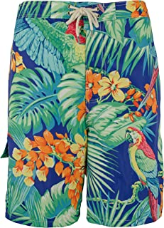 Ralph Lauren Polo BT Men's Tropical Board Shorts, Blue with Parrots (3XB)