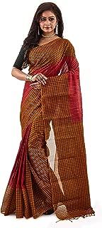 SareesofBengal Women's Handloom Jamdani Cotton Tangail Bengal Tant Checkered Saree