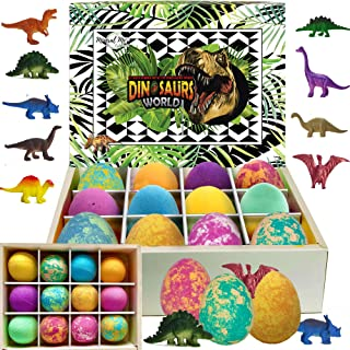 Bath Bombs for Kids with Surprise Inside - Set of 12 Colorful Egg Bath Fizzies with Dinosaur Toys. Gentle and Kids Safe Spa Bath Fizz Balls Kit. Birthday or Easter Gift for Girls and Boys