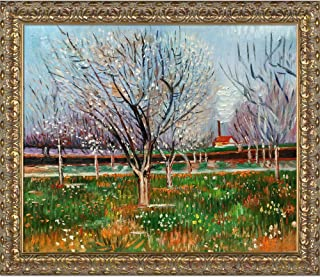 overstockArt Orchard in Blossom (Plum Trees) with Golden Oak Leaf Framed Oil Painting, 28