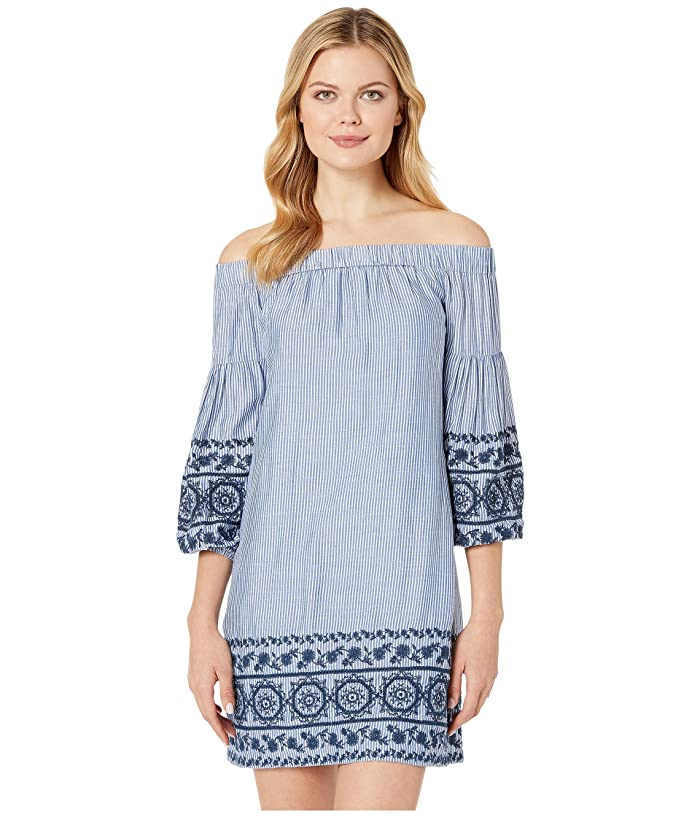 Vince Camuto Cotton Off the Shoulder Dress with Long Sleeves (Blue/White) Women