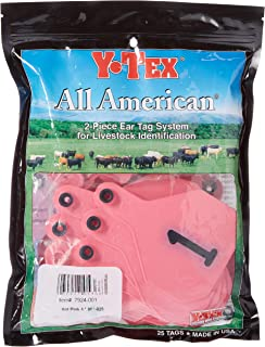 Y-Tex 4 Star Large Cattle Ear Tags Pink Numbered 1-25