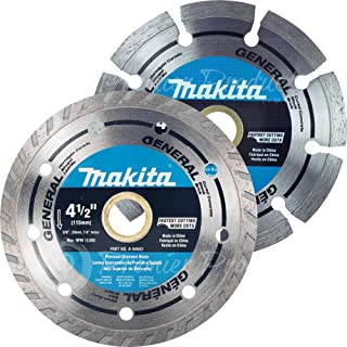 "Makita 2 Piece - 4.5"" Turbo & Segmented Diamond Blade Set For 4.5""+ Grinders & Circular Saws - Ultra-Fast & Lasting Cutting For Concrete, Masonry & Brick - 5/8"", 20mm & 7/8"" Arbors"