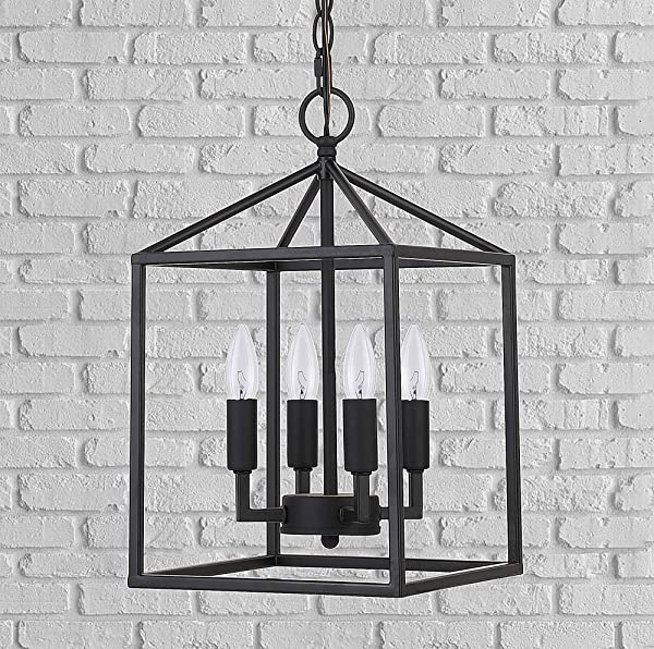 Cerdeco 37940BK Vintage Foyer Lantern 4 Light Pendant Light Matte Black UL Listed