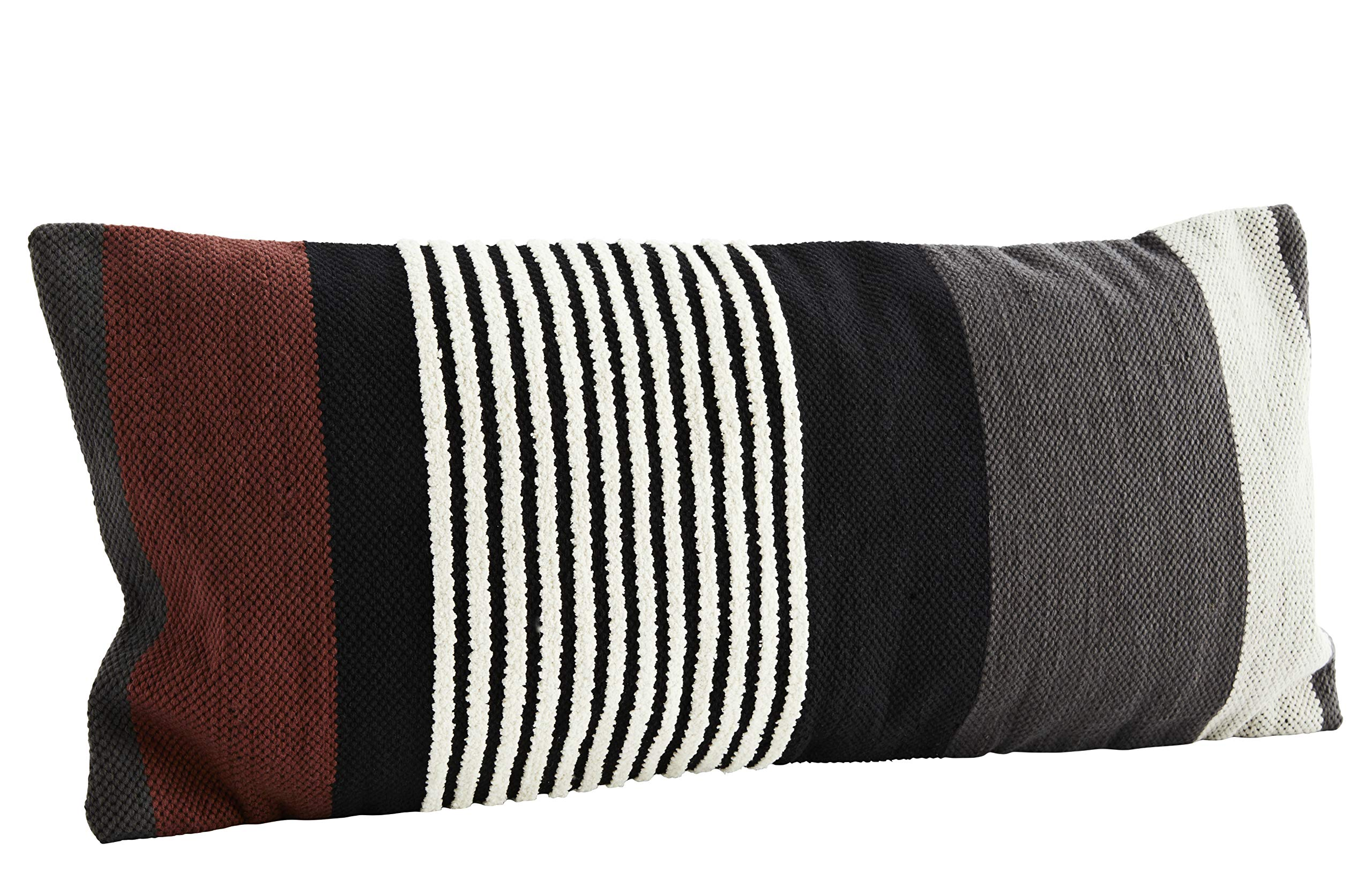 Madam Stoltz - Funda de cojín (40 x 90 cm, algodón y viscosa), diseño de rayas, color blanco, negro, gris y rojo oscuro: Amazon.es: Hogar
