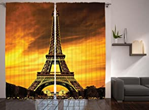 Ambesonne Eiffel Tower Curtains, Paris Love City Monument in Dramatic Sunrise Picture of French Landmark, Living Room Bedroom Window Drapes 2 Panel Set, 108