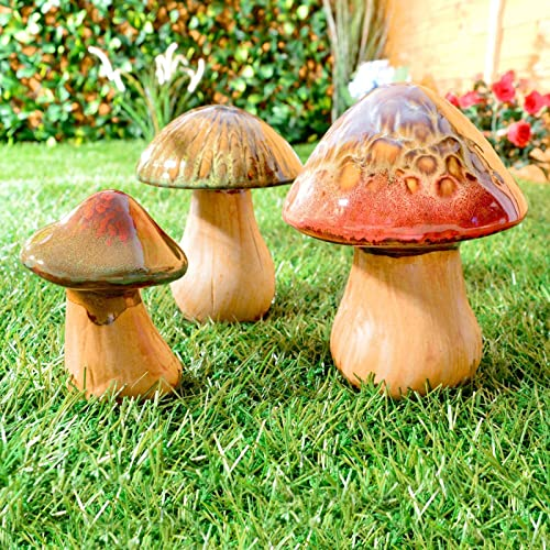 "Mushroom Toadstool frost proof stone garden ornament set of 3 26cm//10/"" H"