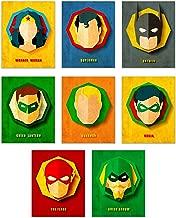 Infinity Creations DC Comics Superheros Set of 8: Wonder Woman, Superman, Batman, Green Lantern, Aquaman, Robin, The Flash, and Green Arrow - Unframed Posters (8