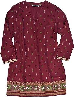 8b4be6b16caf6c Ayurvastram KRITI Hand Block Printed Cotton V Neck Tunic