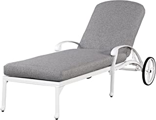Floral Blossom White Outdoor Chaise Lounge Chair with Cushion by Home Styles