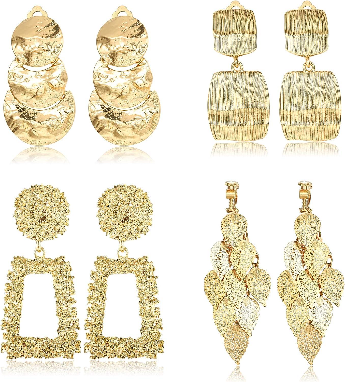 FINREZIO 4 Pairs Clip On Drop Earrings Set Leaf Round Trapezoid Square Rectangle Golden Metal Geometric Clipon Earrings-Non Piercing Dangle Earrings