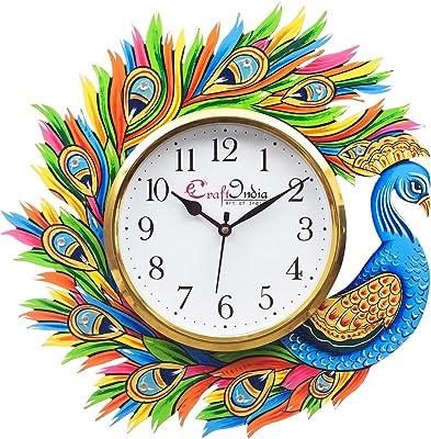 eCraftIndia Handicraft Peacock Paper Mache Analog Wall Clock (32.99 cm x 2.48 cm x 32.99 cm, Yellow and Blue)