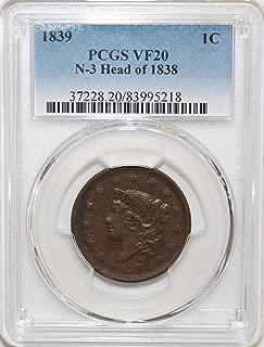 1839 Coronet Head Large Cent 1c VF20 PCGS N-3 Head of 1838