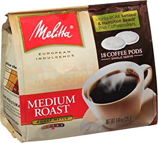 Melitta Coffee Pods for Senseo & Hamilton Beach Pod Brewers, Medium Roast, 18 Count Bag (Pack of 6)