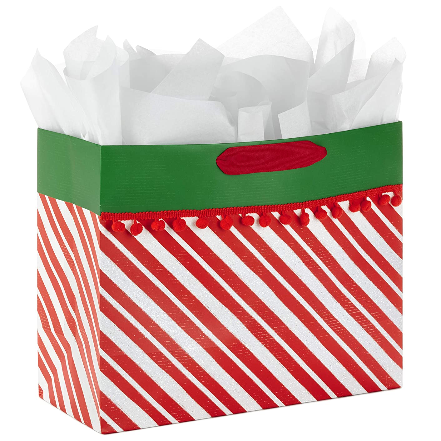 Hallmark Large Christmas Gift Bag with Tissue Paper (Red Stripes and Pom Poms)