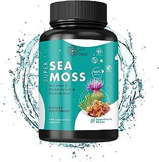 SECRET ELEMENT Irish Sea Moss - Organic Wild Crafted Irish Seamoss Pills (100 ct) - Vegetarian, Non-GMO Sea Moss and Bladd...
